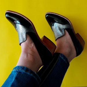 zapato de cuero mujer black