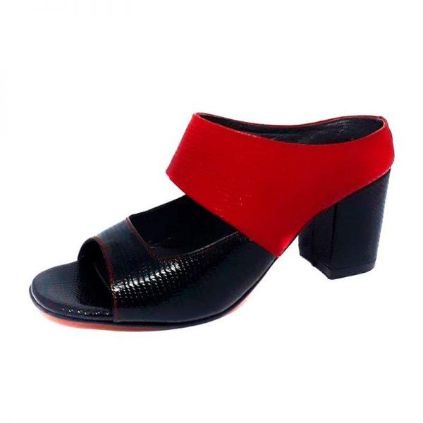 chala de cuero red and black
