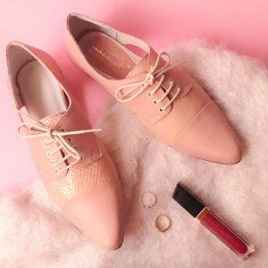 zapatos de cuero mujer oxford pink