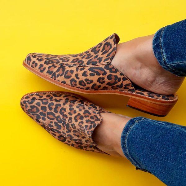 puntillas de cuero animal print